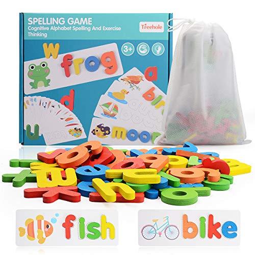 Juegos de Ortografía Juguetes de Aprendizaje Juegos de Palabras Rompecabezas Juguetes Educativos Montessori para Niños,28 Tarjetas y 52 Letras de Madera