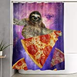DHGER Duschvorhang Sloth Pizza Printed Shower Curtains Waterproof Washable Polyester Fabric 60 X 70 Inch Bathroom Decor Set with Hooks