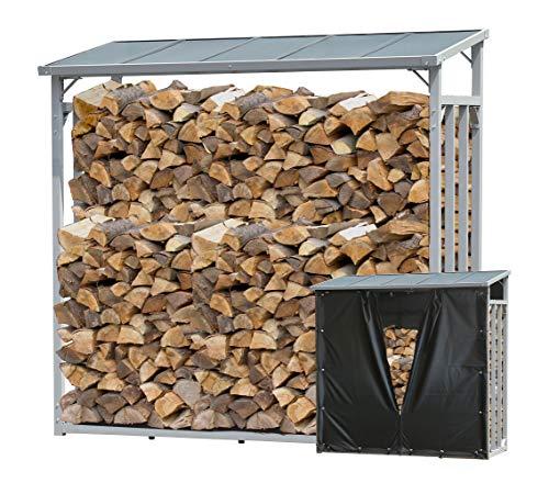 QUICK STAR Étagère en Aluminium XXL 185 x 70 x 185 cm avec Protection Contre Les intempéries pour Bois de cheminée 2,3 m3