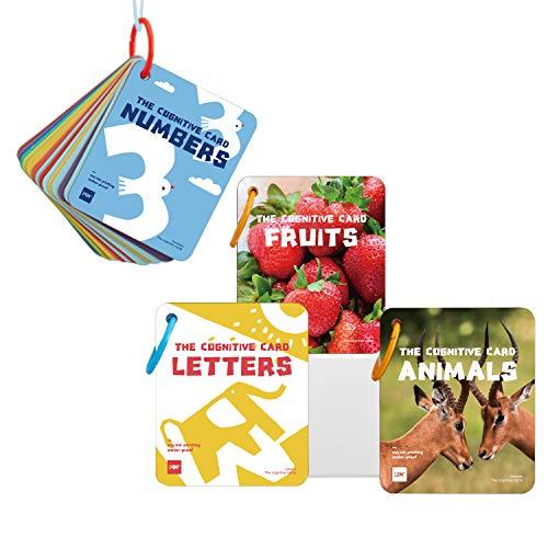 Richgv Flashcards Ingles para Bebés Juego de 50 Tarjetas de 100 páginas con Números Alfabeto Frutas Animales Juguetes Educativos Montessori para Bebé 0 a 36 Meses