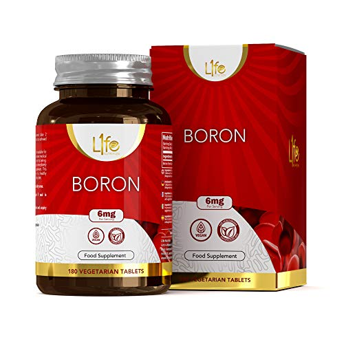 L1fe Nutrition Boron Supplement | 180 Vegan Boron Capsules - 6mg per Serving | Non-GMO Gluten, Dairy & Allergen Free | Manufactured in The UK in an ISO Licensed Facility