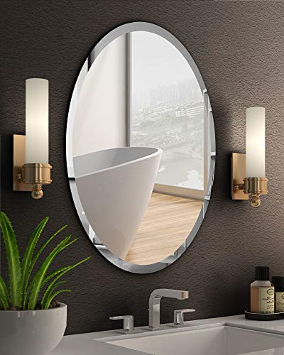 "KOHROS Oval Beveled Polished Frameless Wall Mirror for Bathroom, Vanity, Bedroom (20"" W x 28"" H Oval)"