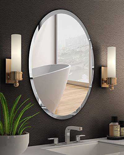 KOHROS Oval Beveled Polished Frameless Wall Mirror for Bathroom, Vanity, Bedroom (20' W x 28' H Oval)