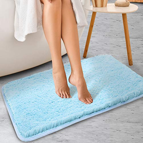 ALAYRAC Bath Mat for Bathroom Thick Non-Slip Bath Rags Strong Absorbent Shaggy Shower Rug Carpet ( Sky Blue, 24x40, Machine Washable)
