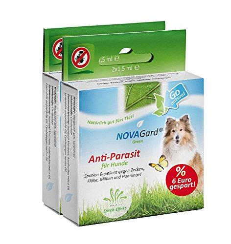 NovaGard Green® Spot-on für Hunde Doppelpack Sparpack Spot-on für Hunde zum auftropfen gegen Zecken, Flöhe und Milben.