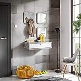 MAS WALLY II - Juego de muebles para pasillo, 80 cm de ancho, flotante, cuadrados, ganchos de almacenamiento, brillantes y brillantes, color blanco brillante