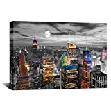 Biuteawal New York City Canvas Wall Art Empire State Building at Moon Night Skyline Pictures Poster Print Modern Cityscape Painting for Home Living Room Office Decor Framed Ready to Hang
