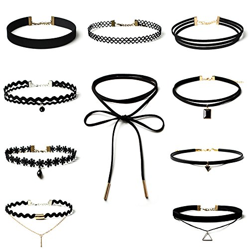Topways 10 PCS Black Choker Necklace for Women, Black Classic Velvet Stretch Gothic Tattoo Lace Choker For Women Girls Party Dress Decorations