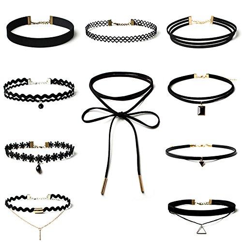 Topways® 10 Stück Gothic Halskette Choker Set,Schwarz Classic Velvet Stretch Gothic Tattoo Spitze Choker Für Frauen Mädchen Party Kleid Dekorationen