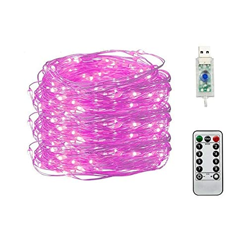 xjzjy Copper wire led 50/100/200 usb lights plug-in fairy lights with remote control 8 modes waterproof lights remote control timer (20m 200LED,RED)