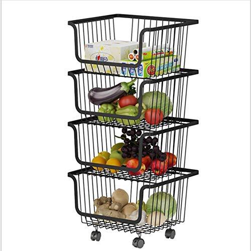 Metal Service Trolley, Kitchen Storage Trolley, Handicraft Trolley, Multi-purpose Trolley With Wheeled Service Trolley, Service Rack Storage Rack Storage Basket, For Bathroom Kitchen Office
