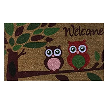 Welcome Coir Doormat by Castle Mats, Size 18 x 30 inches, Non-Slip, Durable, Made Using Odor-Free Natural Fibers