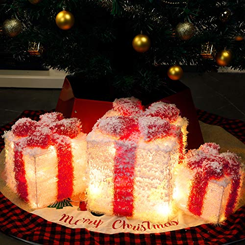 Cllayees Christmas Snowflake Lighted Gift Boxes, Set of 3 Lighted Xmas Gift Boxes with Warm White LED Lights, Small, Medium and Large Party Indoor Outdoor Decorations