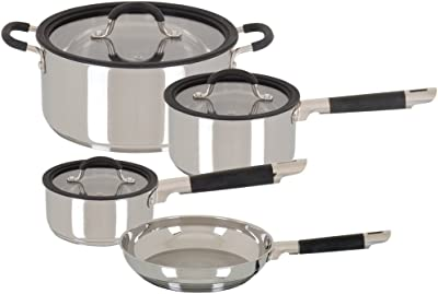 Oster Sartell 7 Piece Polished Stainless Steel Cookware Set, Black