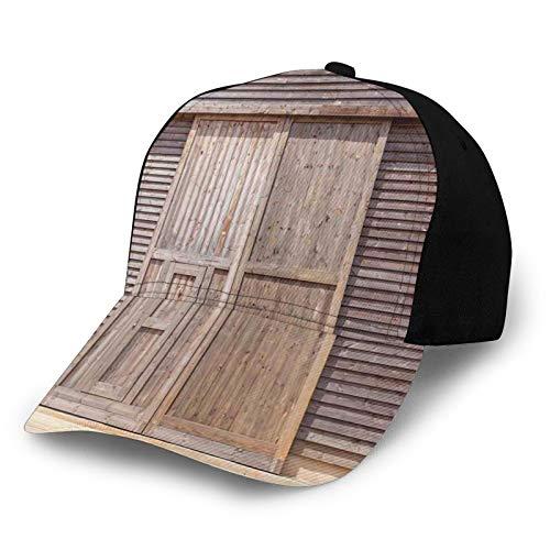 FULIYA Gorra de béisbol de perfil bajo para hombre y mujer, ajustable, de sarga lavada, estilo antiguo, madera de roble, puerta de granero, casa rural, casa rural, pueblo, impresión artística