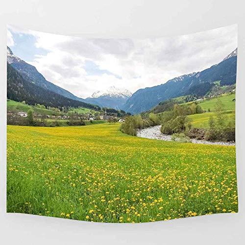 Tapiz verde césped tapiz naturaleza paisaje montaña arte pared tapices para sala de estar hogar dormitorio decoración