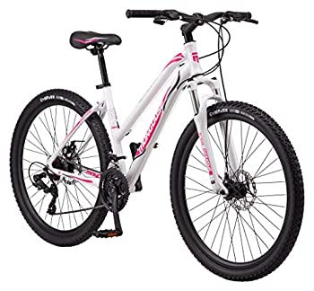 Mongoose Switchback Trail Adult Mountain Bike 21 Speeds 27.5-Inch Wheels Womens Aluminum Small Frame White