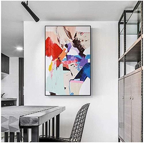 waitingposter Impresiones sobre Lienzo Cuadros Abstractos Cálidos Colores Lienzo Pintura Cartel para Decoración de Sala de Estar-60X80CM