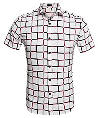 Coofandy Men's Fashion Short Sleeve Plaid Button Down Casual Shirts
