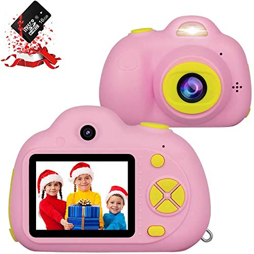 Kids Camera, RegeMoudal Kids Digital Video Camera, 1080P FHD Kids Shockproof Video Camcorder with 2 Inch IPS Screen and 16GB SD Card, Choice for Kids 3-10 Years Old Boys and Girls,Pink