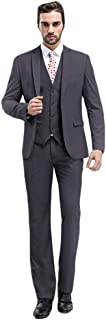 Mens Solid 3-Piece Suit Slim Fit Notch Lapel One Button Tuxedo Blazer Jacket Pants Vest Set
