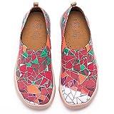 UIN Desigual Art Zapatos Casual Rojo Comodas el Naturalista Imprimio Mujer, Lona,Vestir,Plano,Mocasines Verano,Niña,Señora, Zapatillas Viaje Seguridad