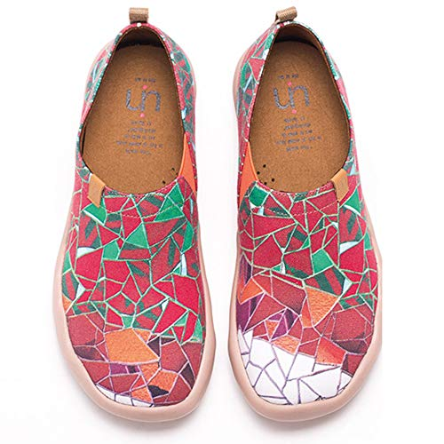 UIN Buntglasfenster Damen Canvas Loafer Schuhe Rot (35)