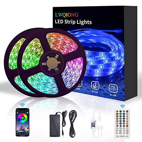 LED Strip Lights,LWQIONG 32.8ft LED Lights for Bedroom SMD 5050 RGB 300 LED Lights Bluetooth and 44-Key Remote Control Room Decor IP65 Waterproof Sync to Music LED Light Strip for TV,Bar,Party
