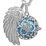 💖 Colgante de la bola de la campana del embarazo harmony ball' Llamador de ángeles 👼' joya musical de maternidad las mujeres embarazadas con cadena de alas de ángel y Bola (114 CM, DIAM FLEUR-BLEU)