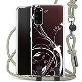 DeinDesign Carry Hülle kompatibel mit Samsung Galaxy S20 Hülle mit Kordel aus Stoff Handykette zum Umhängen grau Ornamente Blume