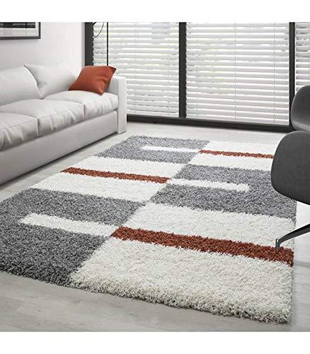 Teppich Hochflor Shaggy Langflor Wohnzimmer Karo Muster Florhöhe 3 cm - Grau-Weiss-Terrakotta, 280x370 cm