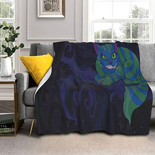 """Soft Plush Throw Blanket,Chester Cat Sitting On Branch Fairytale Forest with Character,Warm Cozy Perfect Throw for All Seasons for Couch Bed Sofa 60""""x50"""""""