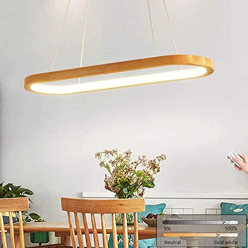 LED Pendelleuchte Holz Esszimmer Hängelampe, Modern Esstisch Lampe Hängeleuchte, Pendellampe Dimmbar mit Fernbedienung, Esszimmerlampe, Esstischlampe, Höhenverstellbar Holzleuchte Retro/Vintage-Desgin