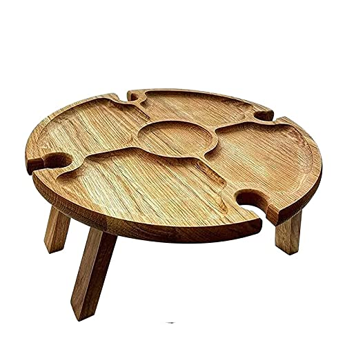 ZS ZHISHANG Wooden Outdoor Folding Picnic Table with Wine Glass Holder Round Foldable Desk Wine Glass Rack Collapsible Picnic Table Creative Collapsible Table for Outdoors, Garden, Travel