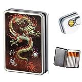 USB encendedor de cigarrillos caso Caja de cigarrillos electrónicos sin llama batería resistente al viento encendedores puede Hold 16cigarrillos humo, Dragon usb lighter