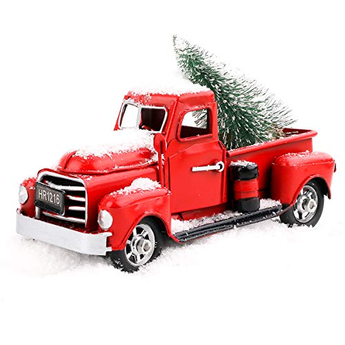 Beewarm Vintage Red Truck Decor 6.7' Handcrafted Red Metal Truck Car Model for Christmas Decoration Table Decoration