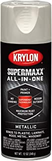 Krylon K08993000 SUPERMAXX All-In-One Spray Paint, Satin Nickel Metallic, 12 Ounce