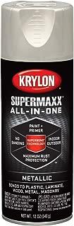 Krylon K08993000 SUPERMAXX All-In-One Spray Paint, Satin Nickel Metallic, 12 Ounce