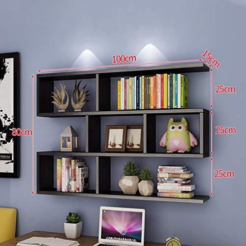 Lfixhssf Creatieve wandmontage boekenkast woonkamer modern eenvoudige wandplank kast wandplanken 100x80x15cm Lfixhssf A