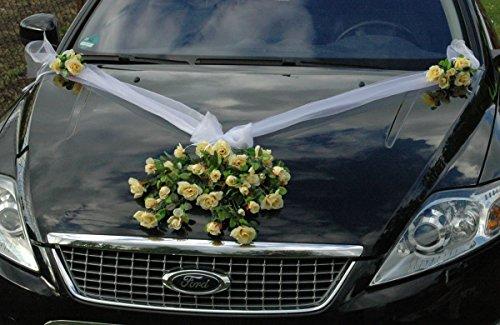 Autoschmuck Spitze STRAUß Auto Schmuck Braut Paar Rose Deko Dekoration Hochzeit Car Auto Wedding...