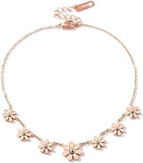 CNNIK 18KGP Acciaio al Titanio Oro Rosa Moda Donna Cavigliera Sette Margherita Fiori, 200mm + 50mm Catena Donne Ragazze Ch...