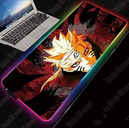 Naruto Anime Gaming - Alfombrilla grande para ratón RGB, con bloqueo de borde para el ratón, 14 teclas, 600 x 300 mm