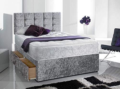 Silver Memory Foam Divan Bed With Orthopedic Mattress & Free Headboard (5FT King, No Drawer)