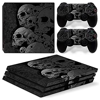 Vinyl Skin Sticker for Playstation 4 Pro Black Skull PS4 Pro Console and Controllers Skins Vinyl Sticker Decal Cover