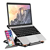 Adjustable Laptop Stand,Portable Computer Riser for Desk with Phone Stand&Heat-Vent,Foldable Ergonomic Tablet Elevator,Notebook Holder Mount【Rotatable&8 Multi Angle】 for 10-15.6'' Device(Black)
