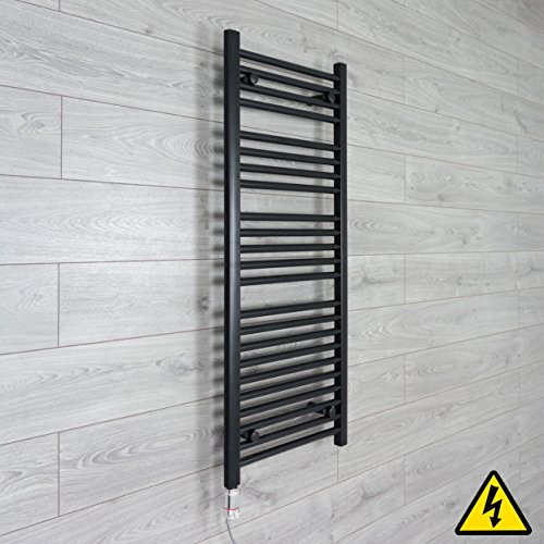companyblue thermostaat handdoekradiator, elektrisch verwarmd, 400 mm breed, zwart 1200 x 400 mm mat zwart