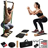 FlexFixx Portable Home Gym Workout Kit - Fitness Balance Board & Full Body Workout Resistance Band Set Strength Training Equipment - Compact Gym Equipment for Home Travel & Outdoor Fitness