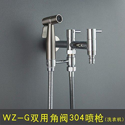 Juego de grifos de boquilla de bidé de 304 pistola de rociador para limpiador de limpiaparabrisas limpiador de culata,pistola de aspersión de válvula de ángulo doble WZ-G 304 (lavadora)