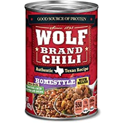 Includes (1) 15-ounce can of Wolf Brand Homestyle Chili With Beans Ground beef, pork and pinto beans are combined with tomatoes, green peppers, onions and a special blend of spices Quickly cook on the stovetop or in the microwave to prepare an easy w...