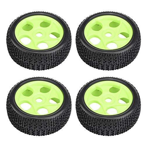 Dilwe 4 Pcs Neumáticos de Goma para 1/8 1/10 Control Remoto Off-Road Crawler Cars Trucks(Verde 5 Agujeros)